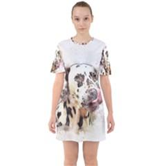 Dog Portrait Pet Art Abstract Sixties Short Sleeve Mini Dress