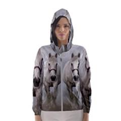 Horse Mammal White Horse Animal Hooded Wind Breaker (women)