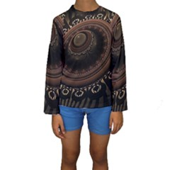 Fractal Stripes Abstract Pattern Kids  Long Sleeve Swimwear