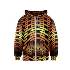 Fractal Orange Texture Waves Kids  Zipper Hoodie