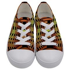 Fractal Orange Texture Waves Kids  Low Top Canvas Sneakers
