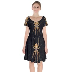 Nsect Macro Spider Colombia Short Sleeve Bardot Dress