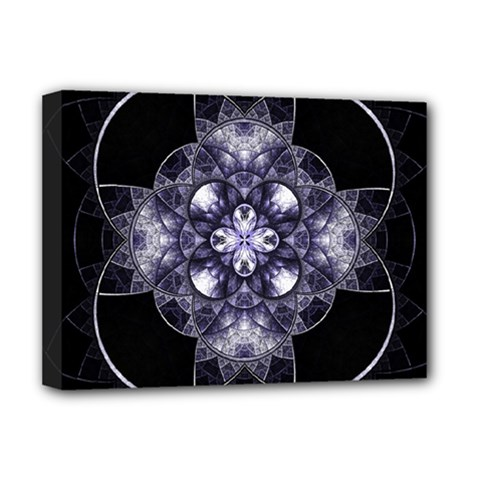 Fractal Blue Denim Stained Glass Deluxe Canvas 16  X 12