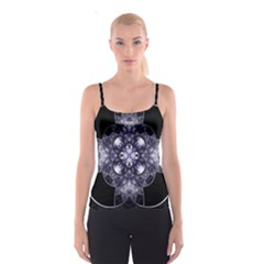 Fractal Blue Denim Stained Glass Spaghetti Strap Top