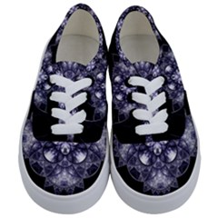 Fractal Blue Denim Stained Glass Kids  Classic Low Top Sneakers