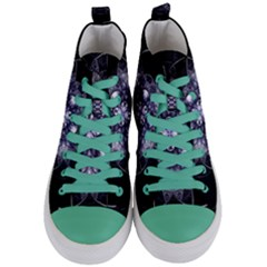 Fractal Blue Denim Stained Glass Women s Mid Top Canvas Sneakers
