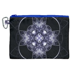 Fractal Blue Denim Stained Glass Canvas Cosmetic Bag (xl)