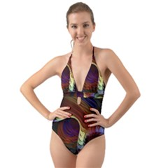 Fractal Colorful Rainbow Flowing Halter Cut Out One Piece Swimsuit