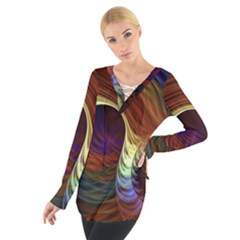 Fractal Colorful Rainbow Flowing Tie Up Tee