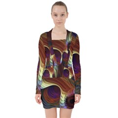Fractal Colorful Rainbow Flowing V Neck Bodycon Long Sleeve Dress