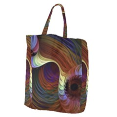 Fractal Colorful Rainbow Flowing Giant Grocery Zipper Tote