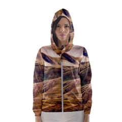 Iceland Mountains Sky Clouds Hooded Wind Breaker (women)