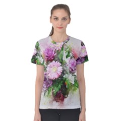 Flowers Roses Bouquet Art Nature Women s Cotton Tee