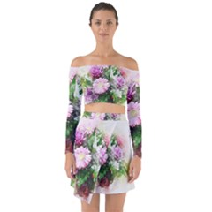 Flowers Roses Bouquet Art Nature Off Shoulder Top With Skirt Set
