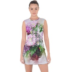 Flowers Roses Bouquet Art Nature Lace Up Front Bodycon Dress