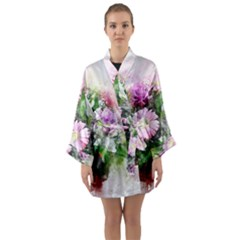 Flowers Roses Bouquet Art Nature Long Sleeve Kimono Robe