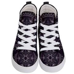 Fractal Mandala Circles Purple Kid s Hi Top Skate Sneakers