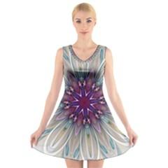 Mandala Kaleidoscope Ornament V Neck Sleeveless Skater Dress