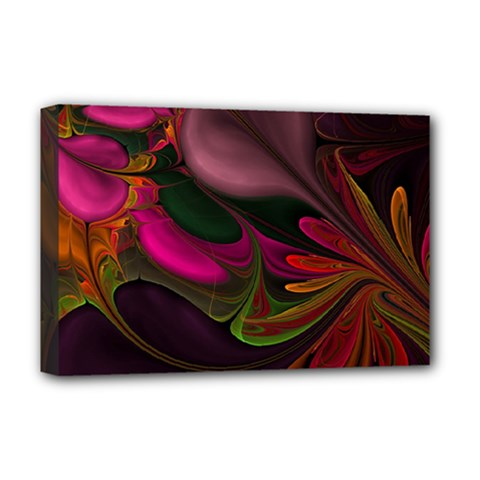 Fractal Abstract Colorful Floral Deluxe Canvas 18  X 12