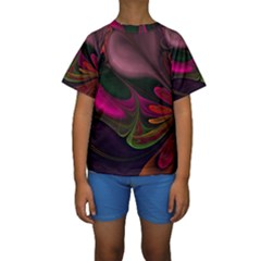 Fractal Abstract Colorful Floral Kids  Short Sleeve Swimwear