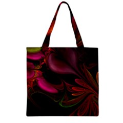 Fractal Abstract Colorful Floral Grocery Tote Bag