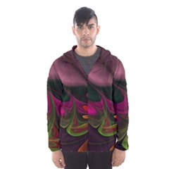 Fractal Abstract Colorful Floral Hooded Wind Breaker (men)