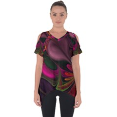 Fractal Abstract Colorful Floral Cut Out Side Drop Tee