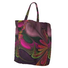 Fractal Abstract Colorful Floral Giant Grocery Zipper Tote