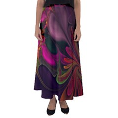 Fractal Abstract Colorful Floral Flared Maxi Skirt