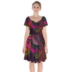 Fractal Abstract Colorful Floral Short Sleeve Bardot Dress