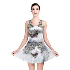 Cat Pet Art Abstract Watercolor Reversible Skater Dress