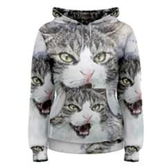Cat Pet Art Abstract Watercolor Women s Pullover Hoodie