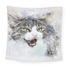 Cat Pet Art Abstract Watercolor Square Tapestry (large)