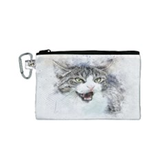 Cat Pet Art Abstract Watercolor Canvas Cosmetic Bag (small)