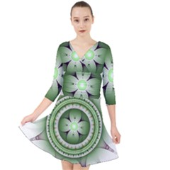 Fractal Mandala Green Purple Quarter Sleeve Front Wrap Dress