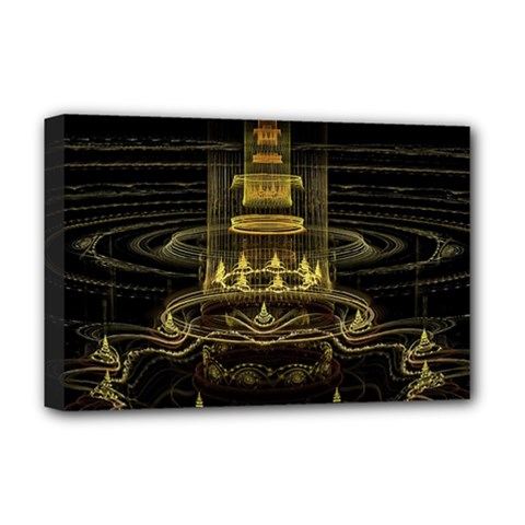 Fractal City Geometry Lights Night Deluxe Canvas 18  X 12