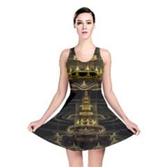 Fractal City Geometry Lights Night Reversible Skater Dress