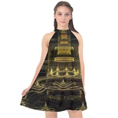 Fractal City Geometry Lights Night Halter Neckline Chiffon Dress
