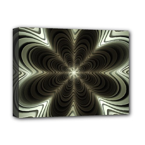 Fractal Silver Waves Texture Deluxe Canvas 16  X 12