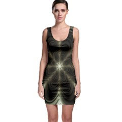 Fractal Silver Waves Texture Bodycon Dress
