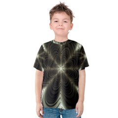 Fractal Silver Waves Texture Kids  Cotton Tee