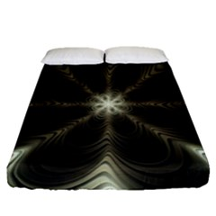 Fractal Silver Waves Texture Fitted Sheet (queen Size)