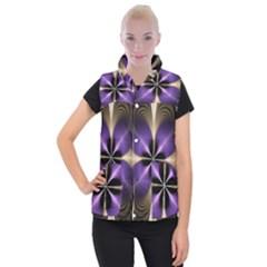 Fractal Glow Flowing Fantasy Women s Button Up Puffer Vest