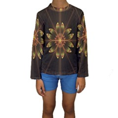 Fractal Floral Mandala Abstract Kids  Long Sleeve Swimwear