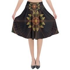 Fractal Floral Mandala Abstract Flared Midi Skirt