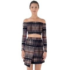 Fractal Fractal Art Design Geometry Off Shoulder Top With Skirt Set