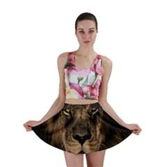 African Lion Mane Close Eyes Mini Skirt