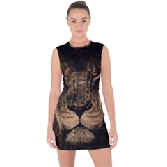 African Lion Mane Close Eyes Lace Up Front Bodycon Dress