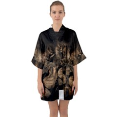 African Lion Mane Close Eyes Quarter Sleeve Kimono Robe