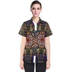 Fractal Detail Elements Pattern Women s Short Sleeve Shirt